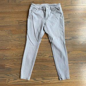 Loft Petite Curvy Super Skinny Jeans in Light Gray
